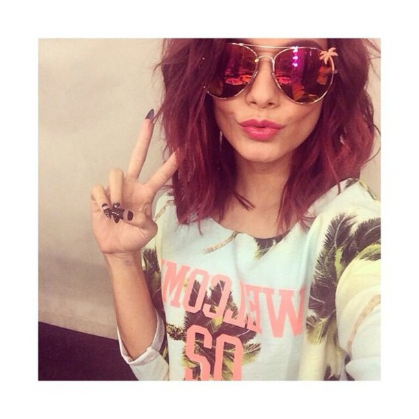 vanessa hudgens mirrored sunglasses palm tree print jumper
