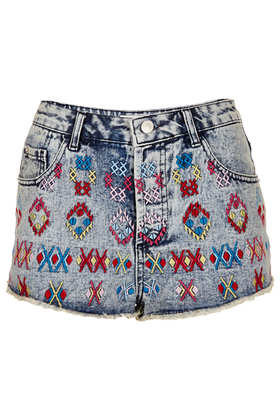 MOTO Aztec Embroidery Hotpants - Trousers & Shorts - Sale  - Sale & Offers - Topshop