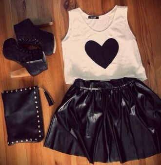 top crop black brown heart crop top heart crop tops high heeled boots high heels studs brown shoes silver white leather skater skirt skirt bag shoes