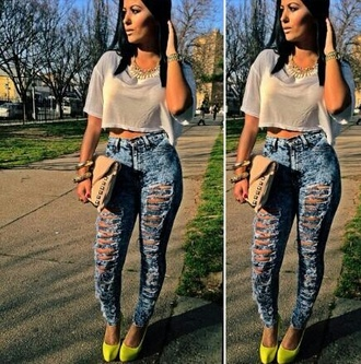jeans high waisted jeans ripped _ highwaisted jeans yellow blue jeans gorgeous ripped jeans necklace shirt white sheer crop sleeved cropped see through going out tumblr high waisted outfit oversized
