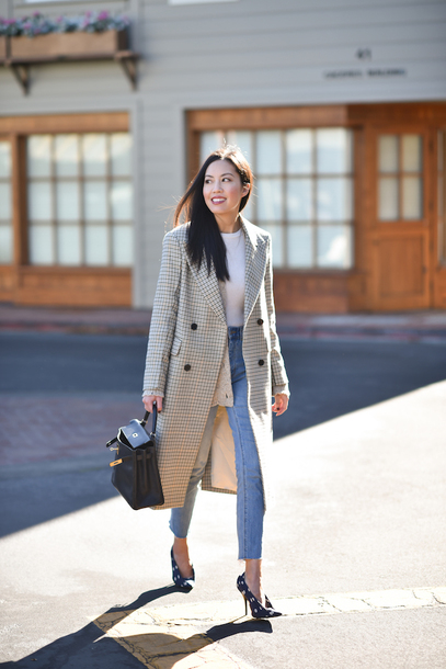 coat tumblr nude coat long coat denim jeans blue jeans shoes pumps pointed toe pumps high heel pumps top white top bag black bag handbag double breasted checkered high waisted jeans white blouse knitted cardigan