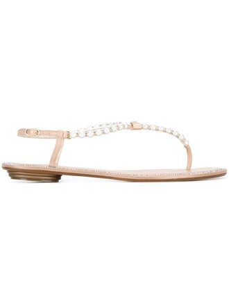 bow pearl embellished sandals white shoes