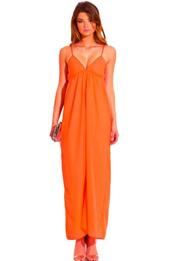 Neon orange chiffon overlay babydoll high slit evening cocktail party maxi dress