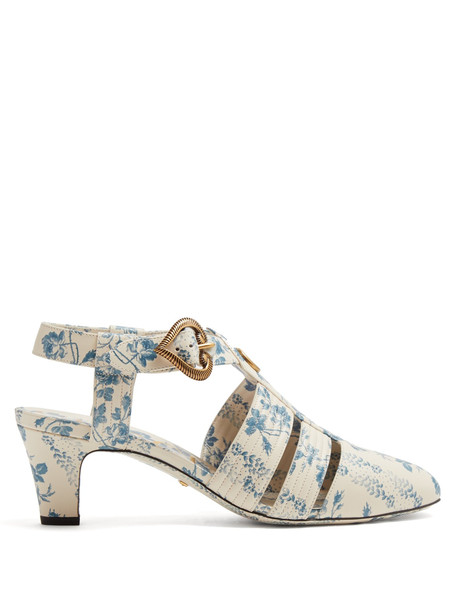 embellished pumps leather white blue shoes