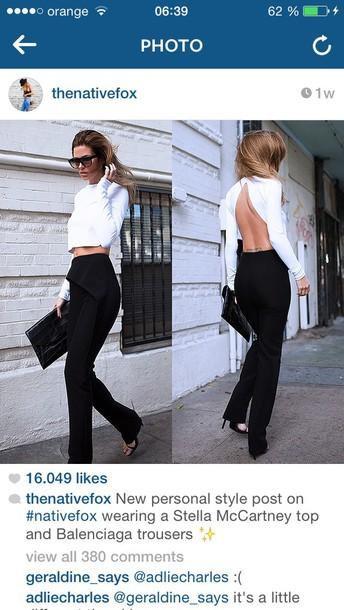 blouse white shirt black trousers