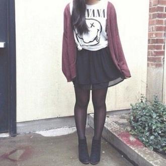 top nirvana white cardigan burgundy/maroon