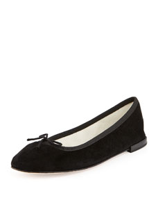 Repetto Suede Bow Ballerina Flat, Black