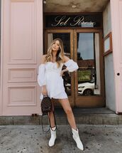 jewels,jewelry,white dress,dress,short dress,bag,white boots