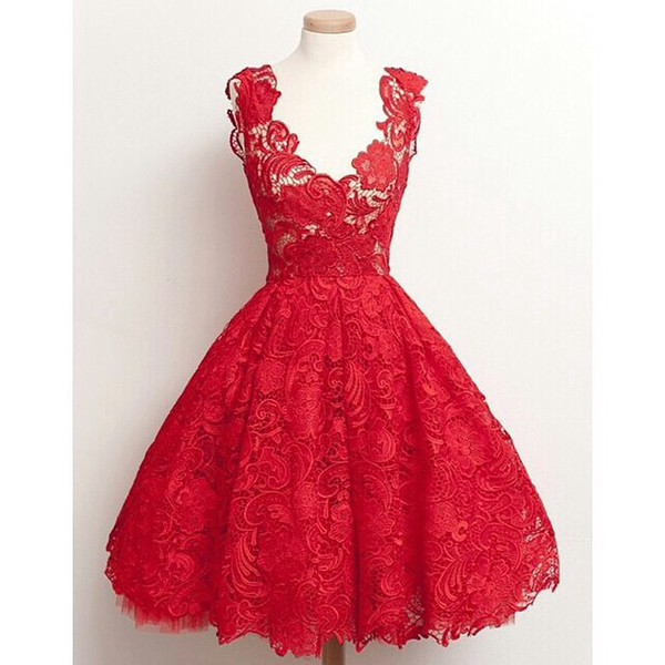 dress red dress lace dress lace grey fashion Stylish Plunging Neck Sleeveless Solid Color Lace Women's Dress trendy sexy homecoming dress elegant rg vintage dress short lace homecoming dress red homecoming dress party dress evening dress