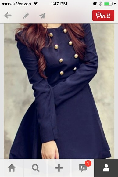 gold buttons dress navy