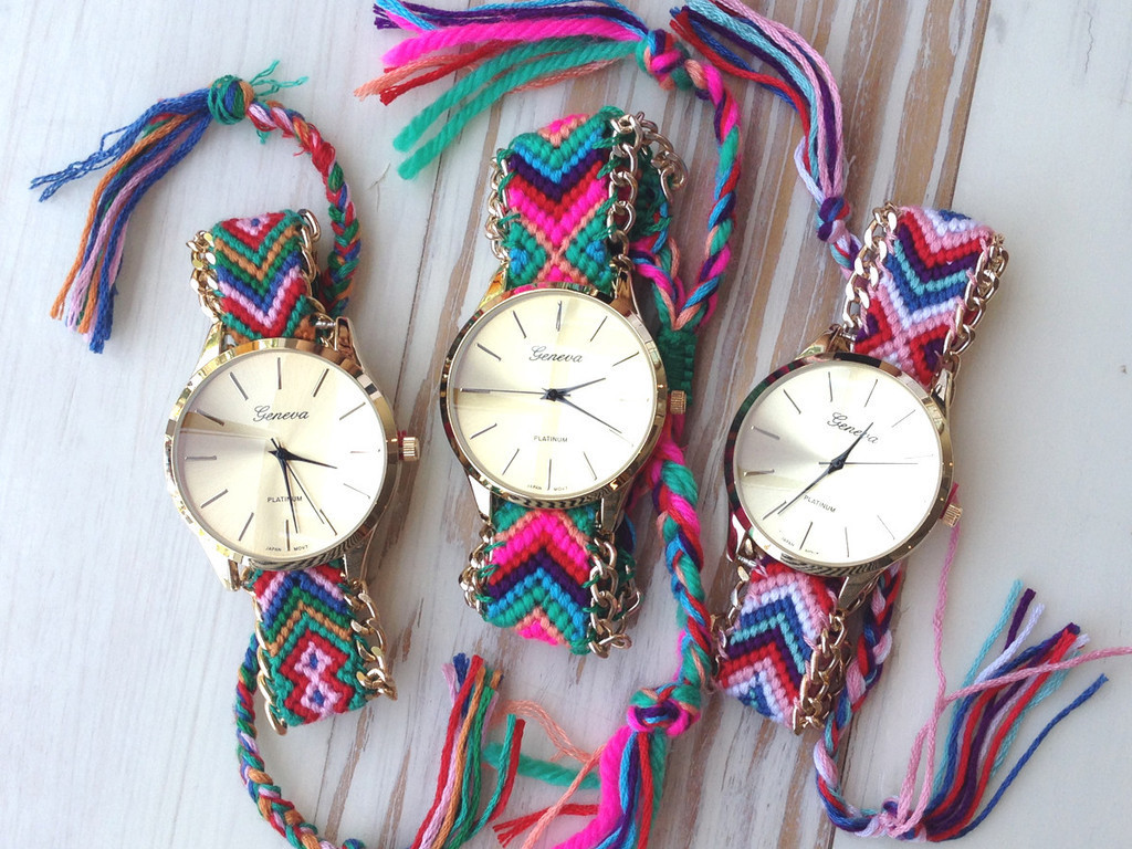 """friendship bracelet"" maya print watch (4 colors available) – glamzelle"