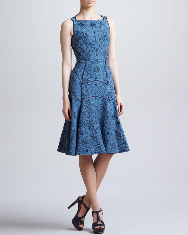 Full Skirted Leafy Jacquard Dress, Blue Dusk