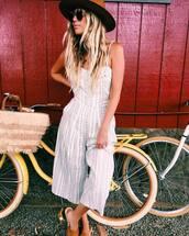 jumpsuit,tumblr,hat,white jumpsuit,cropped jumpsuit,shoes,round sunglasses,sunglasses,stripes,striped jumpsuit