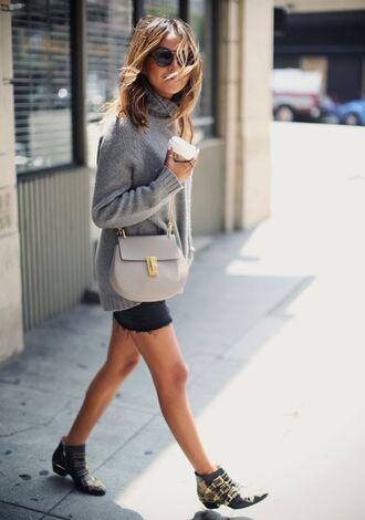shoes grey oversized sweater black shorts grey handbag studded shoes blogger sunglasses