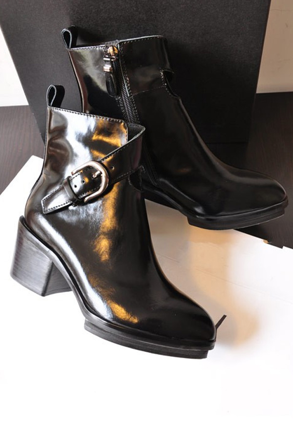 Point Toe Chunky Heel Patent Leather Booties - OASAP.com