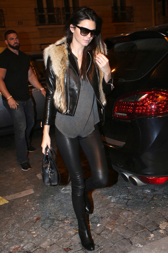 jacket top boots kendall jenner fashion week 2014 streetstyle fall outfits