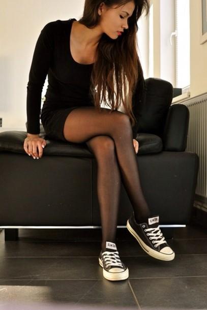 Dress Little Black Dress Black Bodycon Cute Converse Short