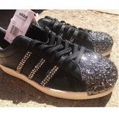 shoes,sneakers,adidas,adidas shoes,fashion,diams,custom shoes,black sneakers,adidas superstars,adidas originals,black,style
