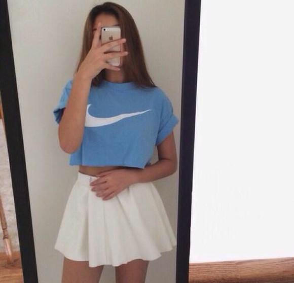 white white skirt top skirt nike sweater