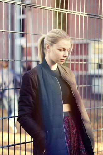 by vh blogger floral skirt winter jacket zara blonde hair shirt skirt bomber jacket