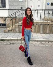 top,red topc,crop tops,pants,jeans,denim,shoes,abg,bag
