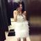 Bandeau studded feather bandage dress white