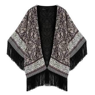 cardigan cape top kimono printed vintage paisley floral dark fringes