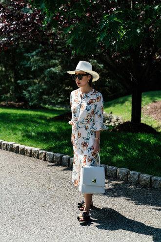 dress floral dress shoes tumblr floral midi dress felt hat floppy hat white hat slide shoes bag white bag