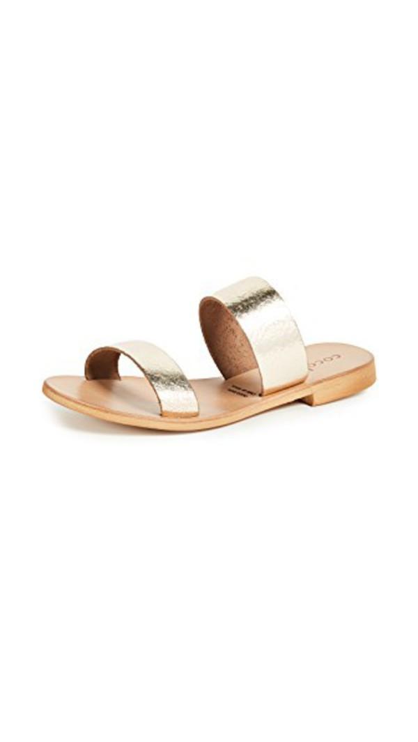 Cocobelle Leather Slide Sandals in gold
