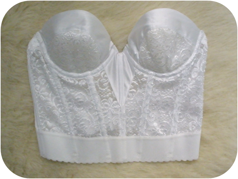 White vintage silk lace bustier crop top from poison on storenvy