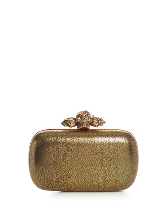 skull clutch leather gold bag