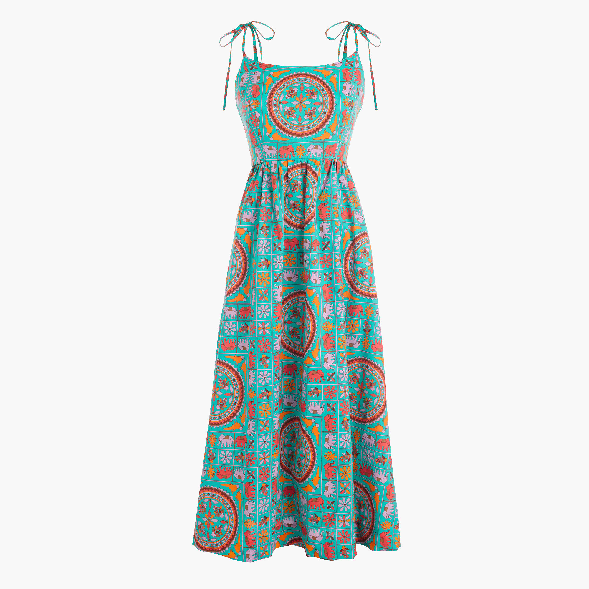 for j crew tie shoulder dress in tiled elephant print