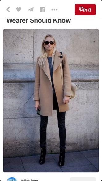 coat tight wool coat camel zip