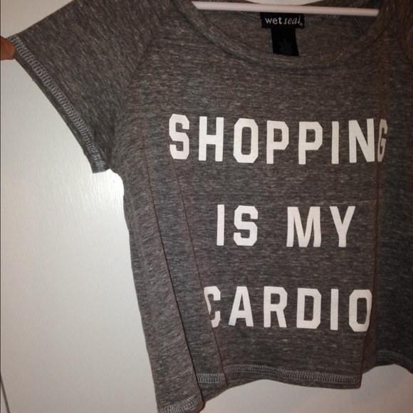 "? nwot ""shopping is my cardio"" crop top ? from claire's closet on poshmark"