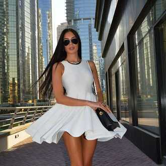 dress white dress skater dress mini dress