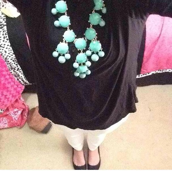 jewels blouse black blouse white pants bubble necklace pants shoes