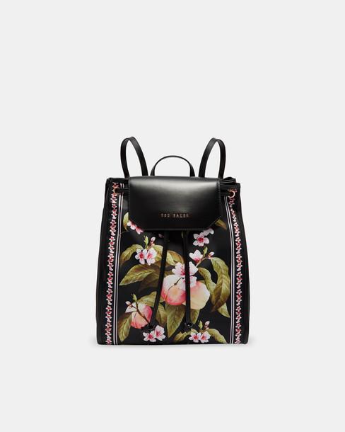 drawstring backpack black peach bag