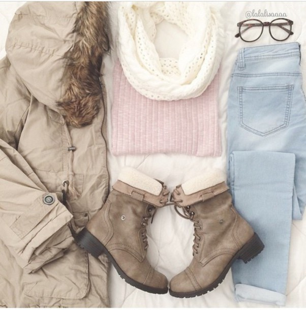 coat jeans sweater scarf shoes sunglasses
