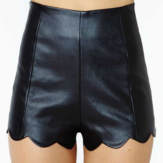 faux faux leather shorts leather shorts scalloped shorts scalloped leather shorts high waisted leather shorts high waisted