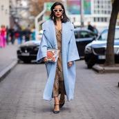coat,long coat,oversized coat,blue coat,pumps,dress,midi dress,leopard print,earrings,white sunglasses