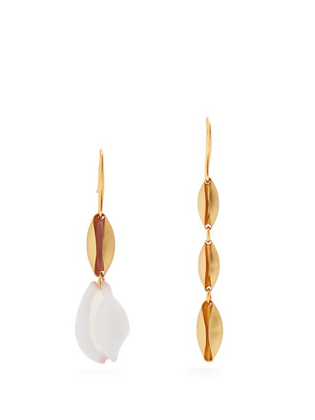 shell embellished earrings gold jewels