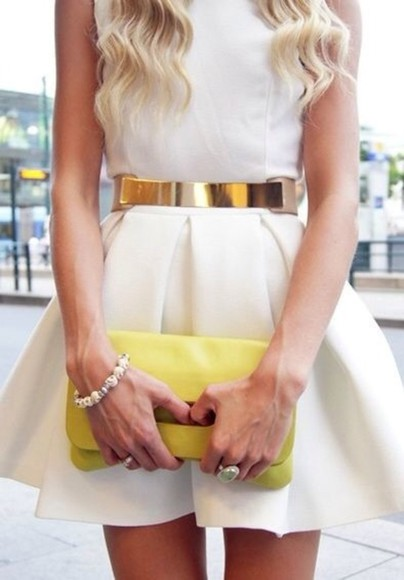 dress white dress belt