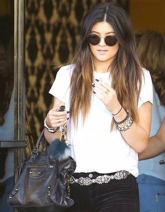belt kylie jenner diamonds stones flowers cristals kristals t-shirt sunglasses bag