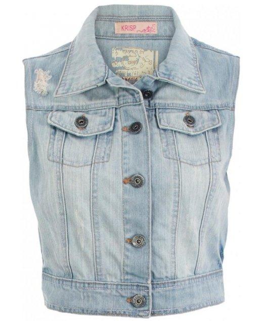 KRISP Blue Bleached Sleeveless Denim Jacket - KRISP from Krisp Clothing UK