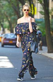 jumpsuit,off the shoulder,karlie kloss,sneakers,sunglasses,purse,model off-duty,floral,wide-leg pants,shoes