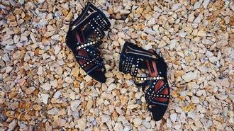 shoes steve madden zooshoo sandals wedges wedge sandals black sandals studded sandals