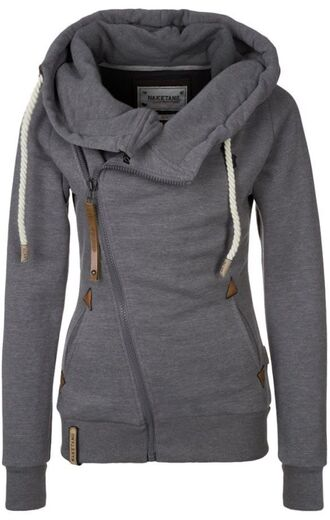 jacket sweater zip-up hoodie coat grey zip up hoodie gray hoodie grey sweatshirt asymmetrical zip grey sweater gray jacket naketano fit sportswear running blouse grey coat side zipper big hood cardigan side zip sweatshirts for girlfriend collared jacket warm grey naketano coat