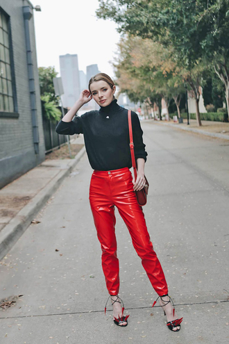 pants tumblr red pants vinyl sandals sandal heels sweater cropped cropped sweater black sweater turtleneck sweater turtleneck