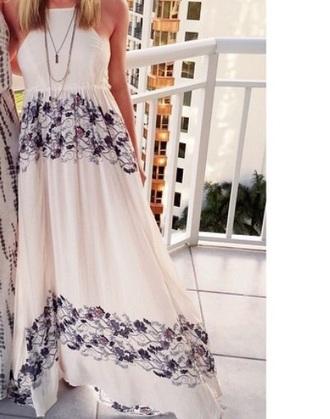 dress white dress blue flowers maxi dress sexy dress style fashion cute dress