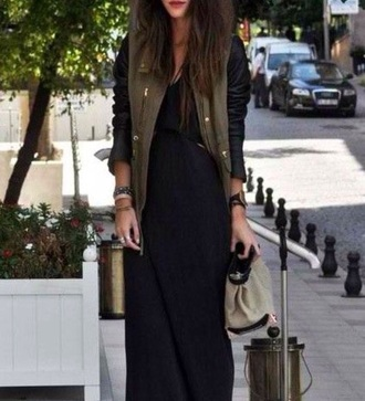 jacket fashion trendy cute pretty girly maxi dress army green jacket black dress